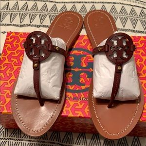 Tory Burch mini Miller sandals in Oxblood color